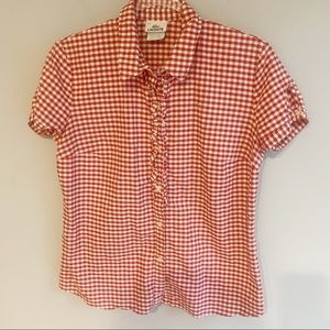 Lacoste Gingham Button Front Top In Red & White